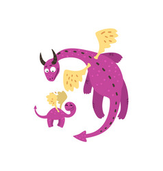Loving mother dragon and her baby cute purple vector