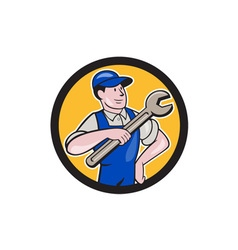 Mechanic Pointing Spanner Wrench Circle Cartoon vector image
