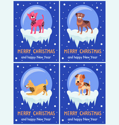 Merry christmas and happy new year festive posters vector