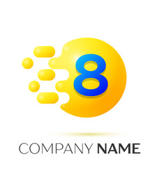 Number eight splash logo yellow dots and bubbles vector