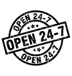 Open 24 7 round grunge black stamp vector
