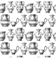 pattern with greek vases vector image