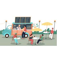people eat street food happy visitors summer vector image