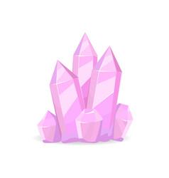 Pink crystals precious stones realistic minerals vector