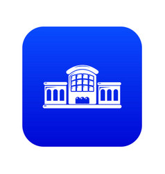Railway station icon blue vector