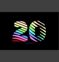 rainbow 20 twenty number stripes logo icon design vector image