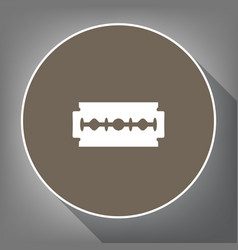 Razor blade sign white icon on brown vector