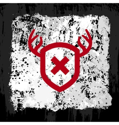 Red shield grunge design vector