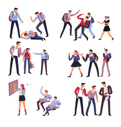 School people behaving badly with other students vector