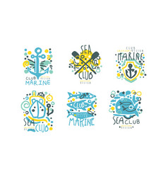 sea club logo design templates collection marine vector image