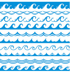 Sea wave frame seamless ocean storm tide waves vector
