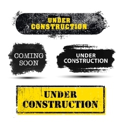 set grunge textured under construction vector image