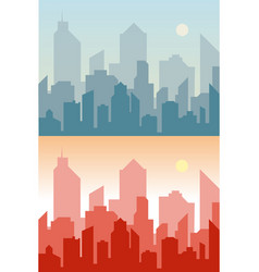 set of cityscape background skyline silhouettes vector image