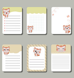 set of cute creative cards with cats set of cute vector image