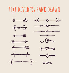 Set of hand drawn text dividers isolated on light vector