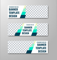 set of horizontal white web banners with place vector image