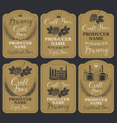 Set of labels for beer and brewery in retro style vector