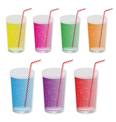 Set of realistic water glasses vector