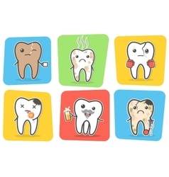 Set of sick problematic and unhealthy teeth vector