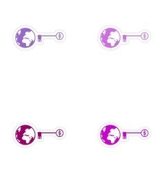 Set of stylish sticker on paper globe and key vector