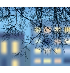 silhouette descending branches vector image