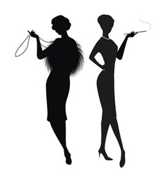 Silhouettes two women in retro style of vector