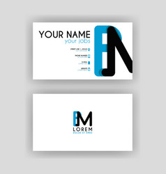 Simple business card with initial letter bm vector