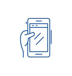 Smartphone in hand line icon concept smartphone vector