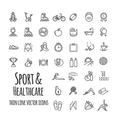 sports sports equipment healthy lifestyle icons vector image vector image