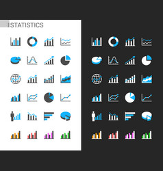 statistics icons light and dark theme vector image