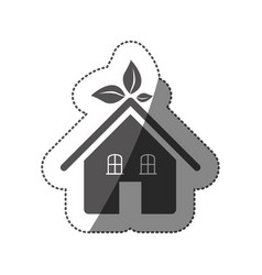 Sticker silhouette of ecological house vector