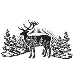 stylized monochrome with deer and vector image