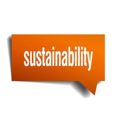 Sustainability orange 3d speech bubble vector
