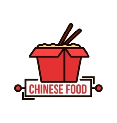 Takeaway chinese noodle box thin line badge vector