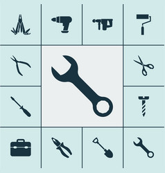 Tools icons set with multifunctional pocket vector