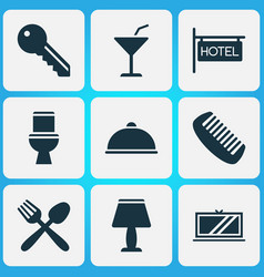 travel icons set with key cocktail tv and other vector image