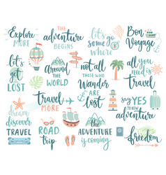 Travel lettering design set - collection of vector