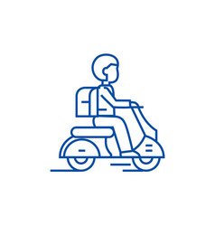 travel scooter line icon concept travel scooter vector image
