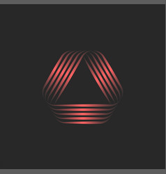 Triangle logo 3d or creative overlapping lines vector