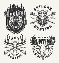 vintage monochrome hunting club logotypes vector image