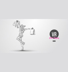 vr online shopping polygonal woman girl wearing vector image