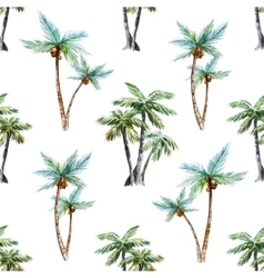Watercolor palm trees pattern vector image
