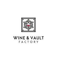 Wine glass and vault safe handle gear factory logo vector