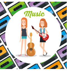 women with guitars playing vector image