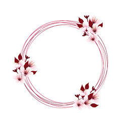 wreath with cherry blossom vector image