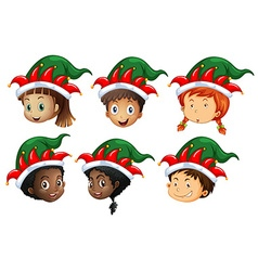 Christmas theme with kids in elf hats vector image vector image