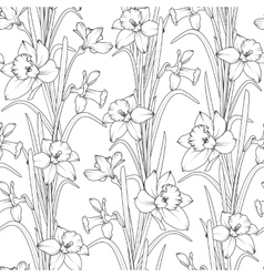 Daffodils narcissus flowers seamless pattern vector image vector image