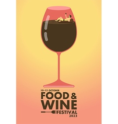 Food and Wine festival poster Relax concept vector image
