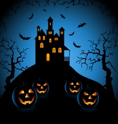 Halloween blue night with haunted castle and vector