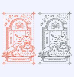 happy halloween trick or treat tombstonepumpkin vector image vector image